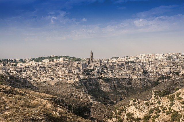 View of the town of Matera, rural Basilicata, Italy.