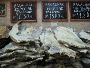 Bacalhau cod fish in a market in Portugal