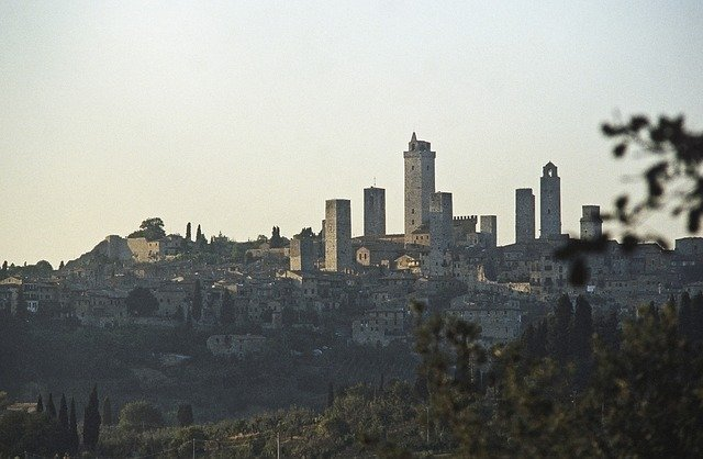 View of San Gimignano towers, rural Tuscany, Italy.