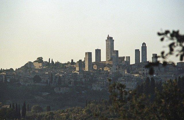 View of San Gimignano towers, rural Tuscany, Italy.