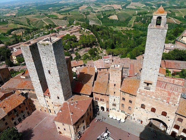 San Gimignano, rural Tuscany: View from one of the towers.