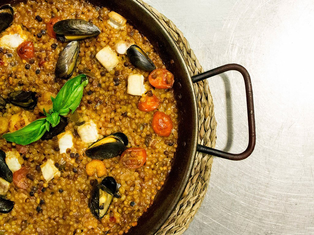 Seafood fregola in rural Sardinia.
