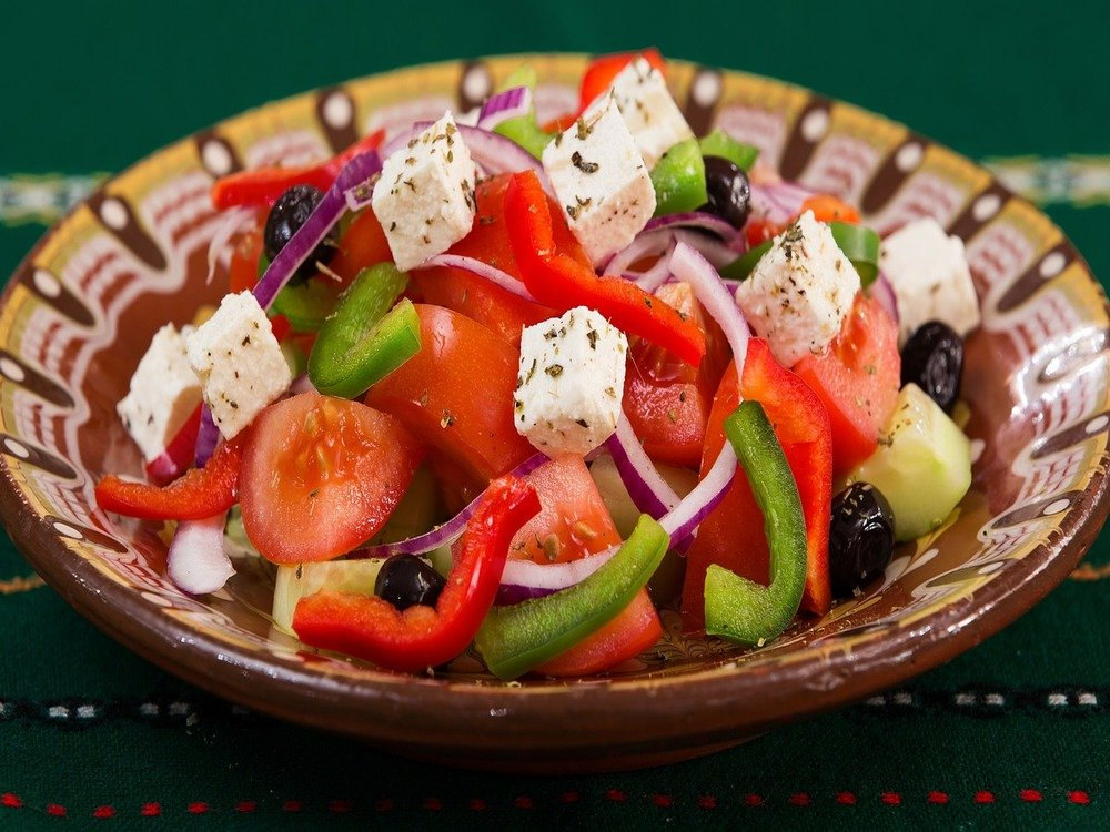 Greek salad at cooking classes on an agritourism farm stay in Greece